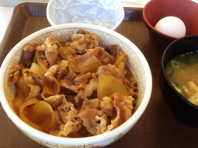 すき家牛丼並玉子セット